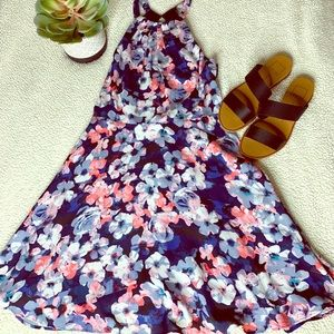 Floral Halter Fit & Flare Dress